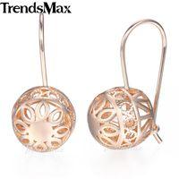 altın dolu toplar toptan satış-Trendsmax Topu Dangle Küpe Güzel Çiçekler kadın 585 Gül Altın Dolu KGE124
