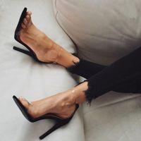 ingrosso donne sandali impermeabili-Sandali della piattaforma delle donne del PVC di vendita all'ingrosso caldi i tacchi alti eccellenti impermeabilizzano le scarpe di nozze di cristallo trasparenti Sandalia Feminina