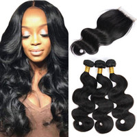 Wholesale double drawn virgin indian hair - Body Wave 3 Bundles With Lace Closure Raw Indian Virgin Hair Unprocessed Double Drawn Weaves Mink Brazilian Hair Natural Black