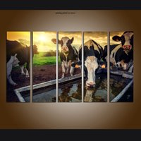 ingrosso paesaggistica contemporanea-Grande pannello 5 Set Modern Contemporary Canvas Wall Art Print Pittura Mucca Alba Paesaggio Immagini Tela Soggiorno Home Decor ASet069