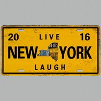 Wholesale live plaque for sale - Group buy LIVE NEW YORK LAUGH Vintage Metal Tin Signs Car Number License Plate Plaque Poster Bar Club Wall Garage Home Decoration