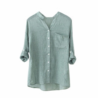 Wholesale wholesale white button down shirts - 5 Color S-4XL Women Cotton Linen Solid Long Sleeve Shirt Casual Loose Blouse Button Down Tops Summer Spring Blouse Women A20