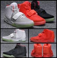 обувь для танцев оптовых-Kanye West 2 II NRG черный серый красный октябрь баскетбол обувь для мужчин светятся в темноте мужские модные кроссовки Кроссовки тренеры
