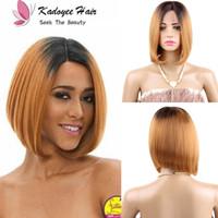 color de pelo para las mujeres asiáticas al por mayor-Pelucas sintéticas rizado corto delantero encaje bob peluca para las mujeres negras peluca sintética peluca de moda instantánea