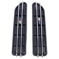 fender vent aufkleber großhandel-2 stücke Luftstrom Kotflügel Side Vent Mesh Aufkleber Lochgitter Für BMW E60 E61 E39 E34 M3 E46 M5 E90 C / 5