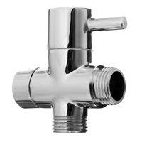 "1 2"" Brass Bathroom Shower Faucet Tee Connector Chrome Plated 3 Way Diverter Toilet Bidet Shattaf Valve"