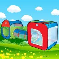 ingrosso i bambini tengono le gallerie-3 in 1 Tenda da tunnel per bambini Giocattolo per bambini Gioca a Game House Tende da esterno per bambini Regalo di compleanno