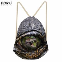 Wholesale wholesalers for cool shoes - FORUDESIGNS Cool Dinosaur Travel Men's Mochila Small Canvas Backpack Sport Men Drawstring Bag for Fitness Kids Shoe Storage Bags