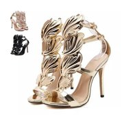 ingrosso sandali neri ali d'oro-Hot Flame metal leaf Wing Sandali con tacco alto Oro Nude Black Party Events Shoes