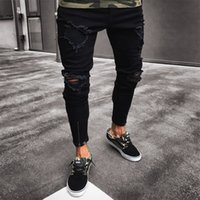 tasarım pantolonu erkek kot pantolon toptan satış-Erkekler Kot Streç Tahrip Ripped Tasarım Siyah Kalem Pantolon Ince Biker Pantolon Delik Kot Streetwear Yağma Pantolon