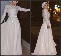 белое серебряное платье с блестками оптовых-Блестящие длинные рукава мусульманские вечерние платья блестки кристалл шифон длиной до пола серебряные белые платья выпускного вечера арабские платья абая партии 432