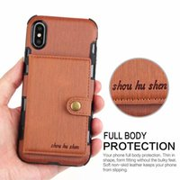 Wholesale Phone Money Wallet Case - Leather Wallet Pouch Cellphone Phone Cases with Card Money Slots for iPhone X 6 7 8 Samsung Galaxy S9 S8 Plus Note 8 Button Back Cover