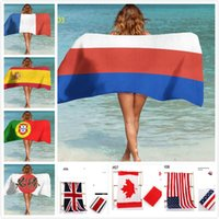 Wholesale cups mats - World Cup Beach Towel Fans 150*70 Gu Tian Rabbit Cotton Personality Swimming Printing British Flag Towel Yoga Mat Customizable
