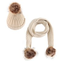 Discount crochet hats for children - 2PC Children Crochet Hat Fur Woolen Knit Beanie Raccoon Warm Caps+Scarf Shawl Suit winter hats for women girls czapka zimowa #TH