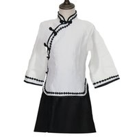 Wholesale kids girl clothes china resale online - New Baby Girls China s School Uniform Suit Kids Stage Performance Clothes Cosplay Clothing Vintage Style Graduation Costume