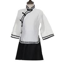bebek kıyafeti vintage stili toptan satış-Yeni Bebek Kız Çin 1930 s Okul Üniforması Takım Çocuklar Sahne Performansı Elbise Cosplay Giyim Vintage Stil Mezuniyet Kostüm