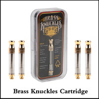 Wholesale dripping logo - Brass Knuckles Cartridges Pyrex Glass 0.5ml 1.0ml Gold BUD Touch Thick Oil Atomizer Vape Pen Tank Drip tip With Logo