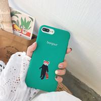 caso do iphone do silicone da raposa venda por atacado-Yunrt macio tpu silicone phone case para iphone 7 case para iphone 6 6s 7 8 plus x casos fox verde macio IMD Fundas Coque