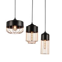 ingrosso illuminazione minimalista appesa-Moderno e minimalista in ferro con luce a sospensione Black Gold Bar Ristorante Nordic Fashion Lamp Vintage metallo Hanging Light Home Decor