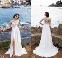 button front lace dress 2018 - 2018 Summer Beach A Line Wedding Dresses Sheer Neck Long Sleeves Lace Bridal Gowns with Thigh High Split Cheap Wedding Gonws