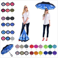 Wholesale inverted colors - 120 Colors High Quality Windproof Car Reverse Folding Double Inverted Umbrella Protection C-Hook Hands Customizable Logo