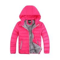 ingrosso giacche ragazze-Piumino per bambini giacca corta con cappuccio per bambini e ragazze 2018 inverno nuovo grande per bambini magro
