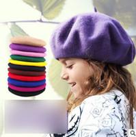 Meninas boina de lã crianças 39 cores pintor chapéu primavera meninas  princesa acessórios de moda crianças misturas de lã beanie gorro bebê R2636 1bfd67fd46b