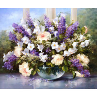 Wholesale oil painting lavender wall art resale online - Frameless Acrylic Picture Lavender Diy Painting By Numbers Kits Drawing Paint On Canvas Wall Art For Home Decor Artwork x50cm