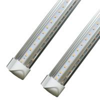 tubo led integrado de 8 pies al por mayor-8ft led en forma de V de 4 pies 5 pies 6 pies de la puerta más fresca llevó los tubos integrados Led doble de los lados de las luces fluorescentes SMD2835 3000K 4000K 5000K 6000K