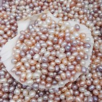 Wholesale oval pearl beads loose - 100% Natural Freshwater Pearl Bead DIY Jewelry Necklace Earring Beads 6-7mm Oval Pearl Mixcolors Pearl Bead Loose Beads With Holes