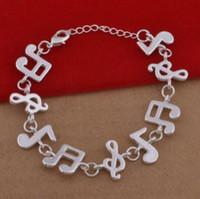 925 silberne musikschmucksachen großhandel-Plating 925 reines Silber Armband Kette Armband, Kupfer Schmuck, Musik Armband L532