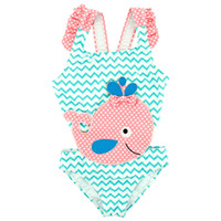 Wholesale children cute swimwear online - Summer Baby Kids Girls Swimwear Hot Spring Swimsuit Wavy Dots Cute Dolphin Swimming Suits Bikini Children Beach Bathing Suit
