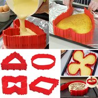 наборы для выпечки оптовых-4 шт. / компл. силиконовые формы для выпечки магия змея торт плесень DIY выпечки квадрат прямоугольной формы сердца круглый торт плесень кондитерские инструменты b932