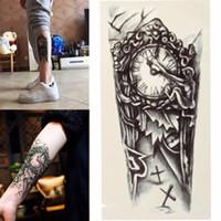 tatuajes falsos sexy al por mayor-Negro 3D Sexy Transferencia Falsa Tatuaje Pecho Reloj Tatoos Para Hombres Temporales Grandes Brazo Mecánico Etiqueta Engomada Del Tatuaje de las mujeres
