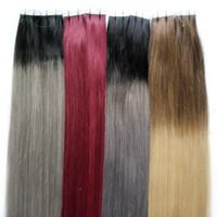 ombre saç uzantıları tutkalı toptan satış-Saç Uzantıları Düz Ombre Bant İnsan Saç Remy Renkli Uzantıları # 1B Soluk # gri Sarışın Tutkal Paket Başına 40 Adet