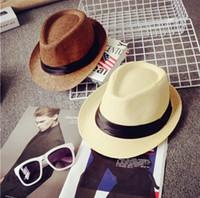 Wholesale Straw Hat Children Wide Brim - 15 Styles Vogue Men Women Hat Kids Children Straw Hats Cap Soft Fedora Panama Belt Hats Outdoor Stingy Brim Caps Spring Summer Beach