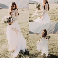 Wholesale vintage beach wedding dresses online - 2019 Bohemian Country Wedding Dresses Sheer Neck Long Sleeves A Line Lace Applique Chiffon Boho Bridal Gowns