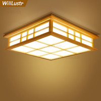 Wholesale Willlustr LED wood ceiling lamp Japan wooden light hotel home dinning room bedroom restaurant acrylic panel ceiling lighting