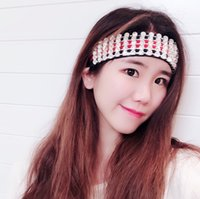 Wholesale headwrap resale online - Luxury Diamond Headband Stripe Crystal Head Band Runway Headwrap Sport Fashion Gift Rhinestones Elastic Hair Belt Accessaries for Women Girl