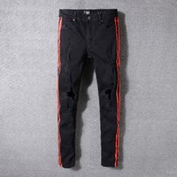 Wholesale bind fly - jeans men AMIRI Trend Holes Man Jeans Gules Stripe Printing Self-cultivation Bound Feet Black PUNK Cowboy Trousers