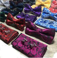 lenço gravatas venda por atacado-Paisley Bow Tie Set Bow Tie E lenço Abotoaduras Set Silk Jacquard tecido Men borboleta Praça Bowtie Pocket Handkerchief Wedding Suit 10 Sé