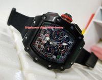 Wholesale man rm - Best Edition Watch 44mm x 49mm RM 011 03 RM011 Carbon Fiber Chronograph Working Swiss ETA 7750 Movement Automatic Mens Men Watch Watches