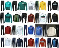 Wholesale russian suit - 2018 World Cup Argentina Belgium Russian England Mexico France Germany Spain Nigeria Portugal Training Suit Soccer Jacket Football Tracksuit