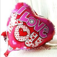 Wholesale Valentines Day Toys - 50pcs lot 18inch Kiss Me I LOVE YOU Balloon Valentine day Wedding Decorations party supplies Heart shape love foil balloons