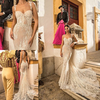 Wholesale Crepe Lace Bridal Gowns - Berta Bridal Mermaid Wedding Dresses Spaghetti Sweetheart Neckline Backless Sequins Bridal Gowns With Detachable Train Wedding Gown