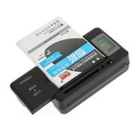 eu мобильный телефон оптовых-EU/US/UK/AU Plug Mobile Phone Universal Battery Charger + USB-Port For Smartphone Charging Battery Indicator Screen High Quality