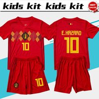 Wholesale Boy Blue - 2018 world cup Belgium soccer Jersey Kids Kit 2018 Belgique home red Soccer Jerseys HAZARD Belgien Child Soccer Shirts uniform jersey+shorts