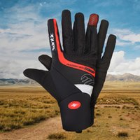 Wholesale SANTIC Men Pro Cycling Gloves Full Finger with Touch Screen Function Red Black Shockproof Windproof Warm Road Bike Bicycle Gloves Winter