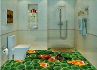 pisos de vinilo verde al por mayor-Mundo submarino Fondo verde Suelo 3D Peces de vinilo Pisos de baño Baño
