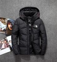 мужская белая верхняя одежда оптовых-Классический бренд мужской зимний открытый белая куртка утка человек случайный пуховик с капюшоном верхняя одежда мужские теплые куртки парки M-3XL 06